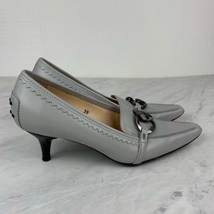 Tod's Gray Pumps W Buckle & Embossed Rubber Dots